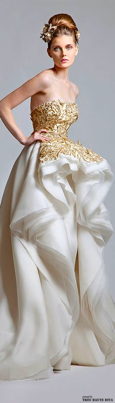 Stunning white and #Golden bridal gown designed by #KrikorJabotianCouture