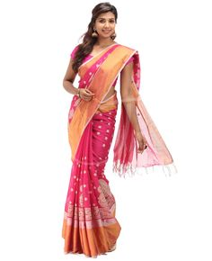Cosa Cotton Fabric. Body is Magenta color self horizontal lines with off white embossed thread work with border. Dual border, one side is golden n silver normal border n the other side is the same golden n silver broad border. Pallu is Magenta color with golden lines on it along with saree border. Blouse is Magenta color golden lines with saree border.