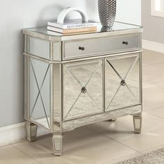 Mirrored Furniture for Less | Set of 2 Glam Mirrored Mirror Furniture Dresser Bedroom Chest Drawers ...