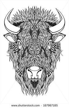 Head Tattoos, Body Art Tattoos, Tattoo Drawings, Art Drawings, Tattoo Arm, Tattoo Examples, Indian Headdress Tattoo, Bison Tattoo, Animals With Horns