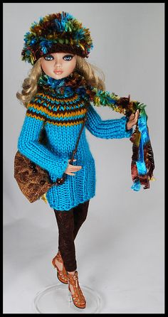 bluebrown4   Explore Maggie and Kate Create's photos on Flic…   Flickr - Photo Sharing! Barbie Knitting Patterns, Doll Patterns Free, Knitting Dolls Clothes, Barbie Clothes Patterns, Doll Clothes, Crochet Doll Dress, Crochet Barbie Clothes, Knitted Dolls, Barbie Skipper