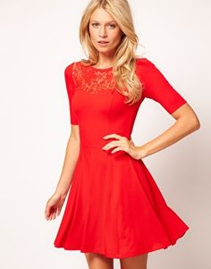 ASOS Skater Dress With Lace Insert...I am seriously in love with this dress!