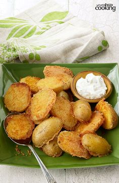 Crispy Parmesan Baked Potatoes #recipe