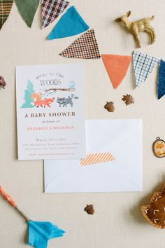 A Modern, Woodland Themed Baby Shower - On to Baby (invitations and the entire shower are soooo cute)