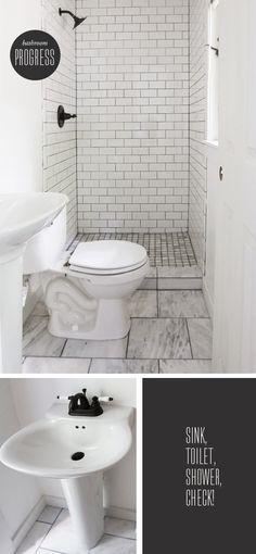 TINY ATTIC BATHROOM IDEAS | Attic Bathroom   White Subway W Dark Grout.  Note Floor
