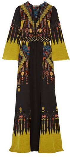 Etro - Belted Printed Silk Crepe De Chine Maxi Dress - Black