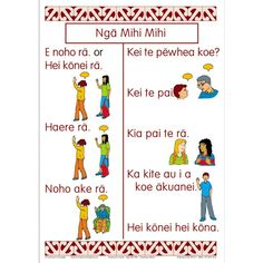 15 greeting words and phrase in Maori with clear, colourful illustrations and words. Treaty Of Waitangi, Greeting Words, Teaching Babies, Classroom Themes, Fun Learning, Early Childhood, Curriculum, Language, Chart