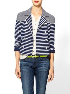 Stripe By N Mixed Stripe Jacket   More here: http://mylusciouslife.com/pinterest-stripes-polka-dots-and-pom-poms/