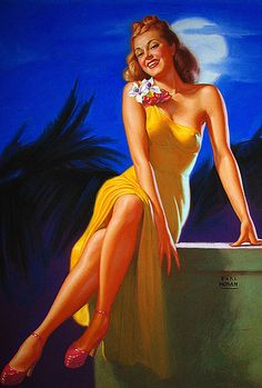 """Earl Moran   This painting is known as """"Marilyn Monroe In Paradise"""". She modeled for him for numerous paintings before she became a movie star."""