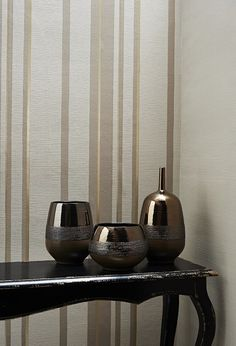 Hoppen Stripe in Taupe Gold & Linen Texture Taupe