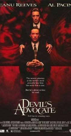The Devil's Advocate. Directed by Taylor Hackford.  With Keanu Reeves, Al Pacino, Charlize Theron, Jeffrey Jones. An exceptionally adept Florida lawyer is offered a job to work in New York City for a high-end law firm with a high-end boss - the biggest opportunity of his career to date.