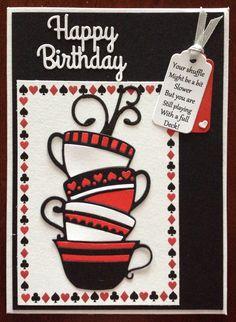 A tea cup card for a bridge playing friend