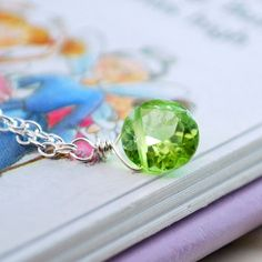 Peridot Necklace Sterling Silver Jewelry August Birthstone Genuine Lime Green Gemstone Semiprecious Stone Solitaire Child Children Girl