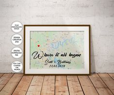 1st Anniversary gift idea Anniversary poster print Wedding | Etsy Heart Map, Anniversary Gifts For Couples, Map Wall Art, Custom Map, Printing Services, Printable Art, Wedding Gifts, Poster Prints, Christmas Gifts