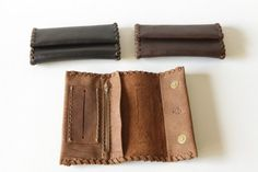 Handmade leather tobacco pouch avaliable in three colors.