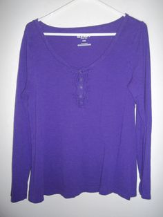 Old Navy Women's Long Sleeve Knit Top Shirt Purple Ruffle Design Size Large #OldNavy #KnitTop