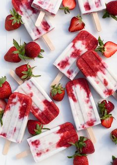 Roasted Strawberries and Cream Popsicles