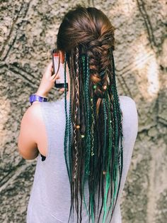 May 2020 - Synthetic Dreads, Single Ended Mix Dreadlocks and Single Ended Braids Natural Brown and Green Ombre with Accessories by DreadsForSoulmates on Etsy Dread Braids, Viking Braids, Hippie Braids, Box Braids, Dreadlock Hairstyles, Braided Hairstyles, Wedding Hairstyles, Viking Hairstyles, Latest Hairstyles