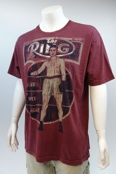 Nwot Mens The Ring Maroon Boxing Magazine Vintage Look Feel Tshirt XXL A313 #TheRing #GraphicTshirt