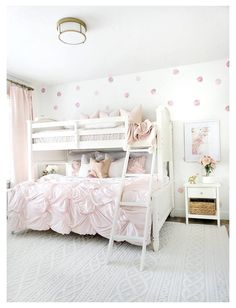 Twin Girl Bedrooms, Bunk Beds For Girls Room, Bunk Bed Rooms, Kids Room For Girls, Girls Bedroom Pink, Wallpaper For Girls Bedroom, Simple Girls Bedroom, Preteen Girls Rooms, Modern Girls Rooms