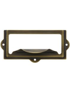 """Metal Label Holders For Drawers. 3 1/2"""" Stamped Brass Label Holder & Pull. House of Antique Hardware"""
