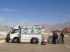Toyota Dyna Truck in Aqaba City | مدينة العقبة in Al 'Aqabah. On our travels earlier this year and came across this. Modified to carry multiple passengers with bikes and luggage. #toyota #truck#lorry #rustyrally