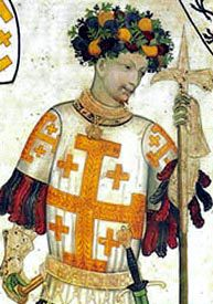 Godfrey of Bouillon as depicted in a late medieval fresco (Castello della Manta, Piedmont, Italy, c. 1420.)