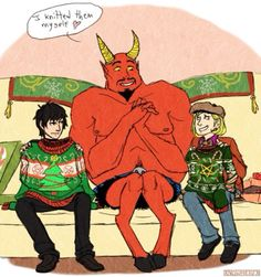 How. Kind. Pip x Damien + Satan Damien is so done with his dad.