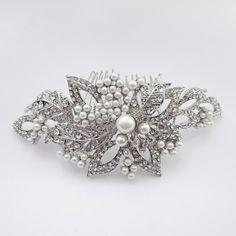 Diamond White Pearl and Rhinestone Wedding Hair Comb - Affordable Elegance Bridal