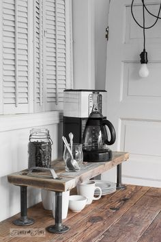 2x4 pipe industrial kitchen coffee station shelf using Funky Junk's Old Sign Stencils / funkyjunkinteriors.net