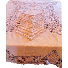 Italian Linen Embroidered Tablecloth and 12 Napkins with Point de Venise Lace - available from The Old Stone Mansion.