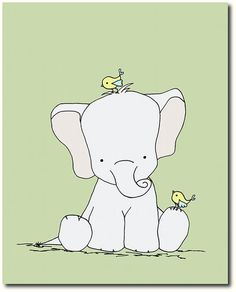 Green Nursery Art Elephant Nursery Art by SweetMelodyDesigns