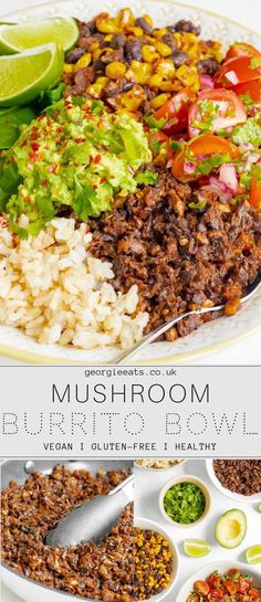 This mushroom burrito bowl is the perfect lunch and ideal to meal prep. Mushroom mince, black beans & corn, zesty salsa, rice & mashed avocado. Yum! Vegetarian Recipes Dinner, Healthy Meal Prep, Vegan Dinners, Vegan Recipes Easy, Healthy Dinner Recipes, Keto Recipes, Jar Recipes, Steak Recipes, Healthy Dinners