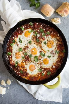 Chipotle Shakshuka is a smoky vegetarian and gluten free dish made of baked eggs in tomato sauce. It's so good even the biggest meat eater will love it! Perfect for breakfast, brunch and even dinner.