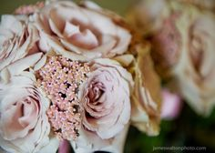 Wedding Bouquet - With Peach Yarrow, softly-colored Quick Sand Roses, and pink and coral Spray Roses