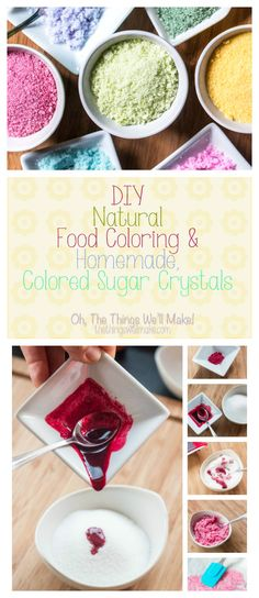 Learn how to quickly and easily make your own natural food colorings that are bright enough to make things like colored sugar crystals. This year I made colored sugar crystals for decorating some Easter treats, and I'll how you how easy it is to make them Cupcakes, Cupcake Cakes, Rice Krispies, Spaghetti Torte, Real Food Recipes, Cooking Recipes, Top Recipes, Sweets Recipes, Cake Recipes