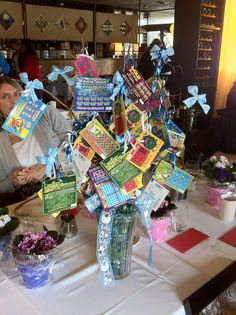 "Door prize idea for staff development- Pull a ""flower"" every 30 minutes or so and give away lottery ticket."