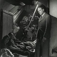 Henry Moore in Holborn underground station in London, September 1943. Lee Miller.