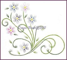 Spring Flowers and Vines Embroidery Pattern for Greeting by Darse, $1.50