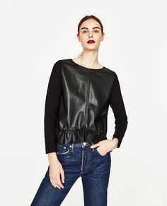 ZARA - COLLECTION SS/17 - FAUX LEATHER SWEATER WITH FRILL