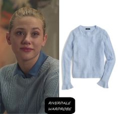 "Who: Betty Cooper (Lili Reinhart) What: J. Crew Cable crewneck sweater with ruffle sleeves - $59.99 Where: Riverdale Season 1 Episode 6 ""Chapter Six: Faster Pussycats Kill! Kill!"""