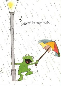 leendert jan vis - singin' in the rain Funny Frogs, Cute Frogs, Frog Pictures, Cute Pictures, Birthday Greetings, Birthday Wishes, Happy Birthday Frog, Frosch Illustration, Rainy Day Quotes