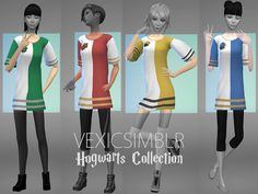 Hello lovelies! Today I bring you a fandom recolor, this time some t-shirt dresses for the Hogwarts Houses (I plan on doing Ilvermorny next~)! You will need the mesh here for these to work Download here