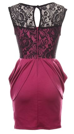 Flirt Alert Dress | Magenta Pink Black Lace Party Dresses | Rickety Rack