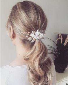 Beautiful bridal updo using a handmade porcelain headpiece Bridal Updo, Wedding Updo, Wedding Hairstyles, Simple Ponytails, Bridal Hair Accessories, Updos, Headpiece, Bride, Hair Styles