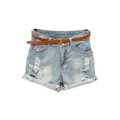Rolled Hem Light Blue Shorts (€25) ❤ liked on Polyvore featuring shorts, bottoms, pants, short, cut-off shorts, rolled shorts, reversible shorts, denim cut offs and cut off short shorts