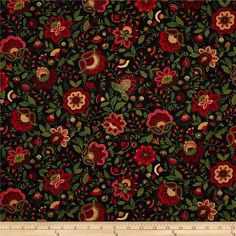 Timeless Treasures Jasmine Jacobean Floral Black from @fabricdotcom  Designed for Timeless Treasures, this cotton print is perfect for quilting, apparel and home decor accents. Colors include red, green, gold, cream, and black.