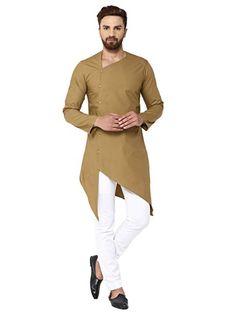 See Designs Men Khaki Solid Straight Kurta - Mens Indian Wear, Indian Groom Wear, Indian Men Fashion, Mens Fashion Wear, Suit Fashion, Green Fashion, Gents Kurta Design, Boys Kurta Design, Kurta Pajama Men