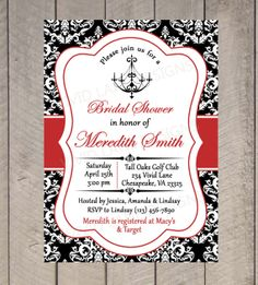 Bridal Shower Printable Invitation - Chandelier, Black White and Red, Wedding Shower Invitation, Black and White Damask - 015