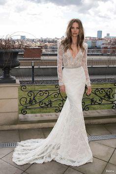 berta bridal fall 2015 long sleeve lace sequinned sheath wedding dress deep v neck